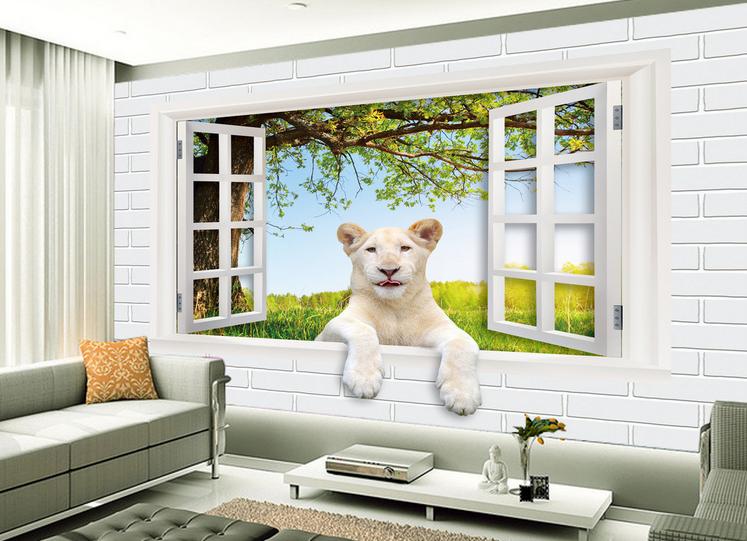 3D Window Lion Tree Sky 943 Wallpaper Mural Paper Wall Print Wallpaper Murals UK