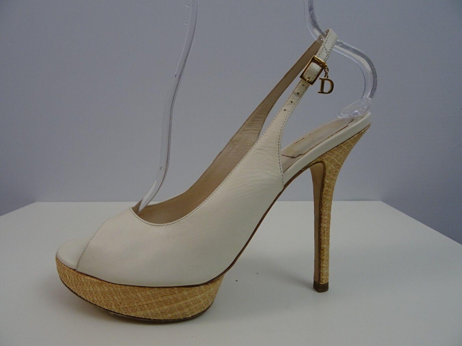 Dior Damen Schuhe Cremeweiß Plateau Pumps High Heels Cremeweiß Schuhe 40,5 Open Toe Schuhes Charms c7f3d8