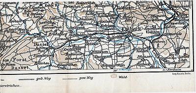 Einbeck Dassel Salzderhelden 1927 Kl. Orig. Teil-wanderkarte Markoldendorf Braak Phantasie Farben