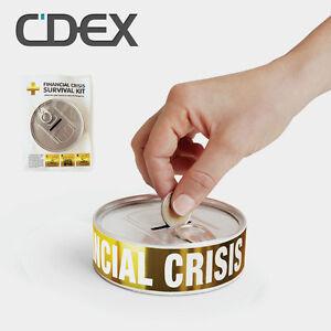 Design-Spardose-034-Financial-Crisis-Survival-Kit-034-Sparbuechse-Sparschwein-Muenzen