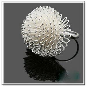 Adjustable-silver-plated-dandelion-flower-charm-ring