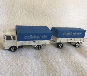 Majorette-Adidas-Trefoil-Logo-Shipping-Truck-Trailer-Toy-Vehicle-Car-RARE-Vntg
