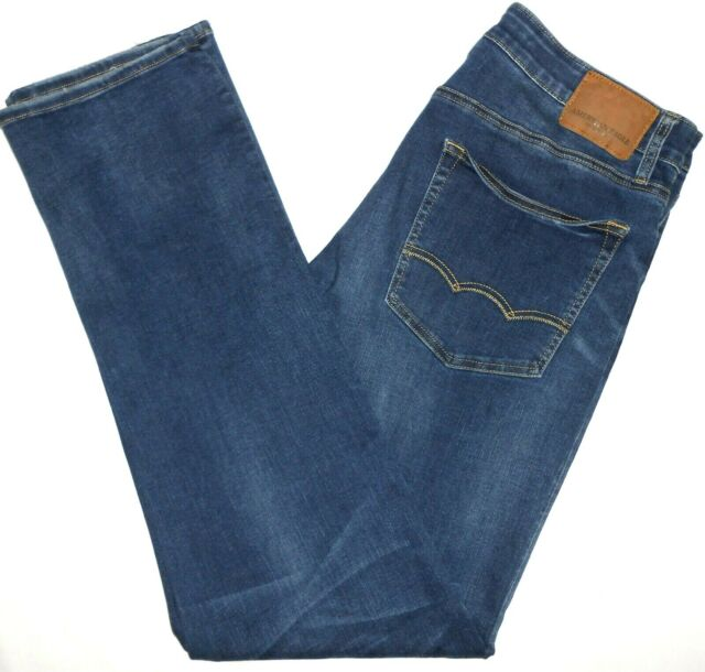 36x36 American Eagle EXTREME FLEX Relaxed Straight Blue Jeans Mens Stretch Denim