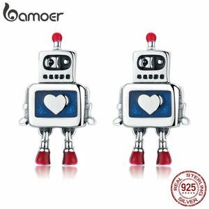 BAMOER-REAL-925-Sterling-Silver-Stud-Earrings-Blue-Enamel-robot-For-Women