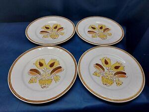 "Vintage American Hearthside Stoneware ""BOUNTIFUL"" Set/4 Dinner Plates JAPAN EUC"