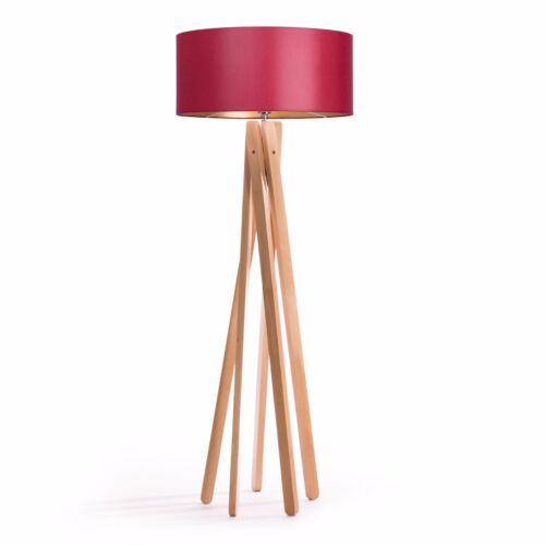 Tripod Stehleuchte Rot Gold Holz Stativ Design Stehlampe Leuchte H=160cm