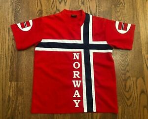 Norway National Soccer Team Nord Suvenir Red Jersey T-Shirt Men's Large EUC