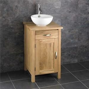 45cm Square Bathroom Cabinet Solid Oak Furniture Round Sink Bowl Vanity Unit