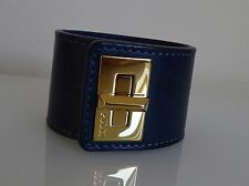 EMILIO PUCCI Navy Blue Leather Gold-Tone Twist Lock Cuff Bracelet/Bangle