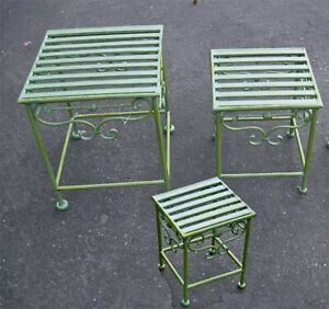 Set of 3  Wrought Iron Plant Stands Antiqued Mint Finish
