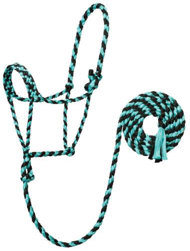 Weaver Leather Braded Mule Tape Rope Halter W//Lead 35-7820-125 Mint//Black
