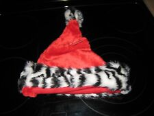 e5dc37d467ed1 BE JOLLY CHRISTMAS RED SANTA HAT WITH ZEBRA FAUX FUR TRIM~NEW WITH TAGS~