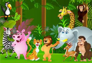 Ufengke treno cartone animato con piccoli animali adesivi murali