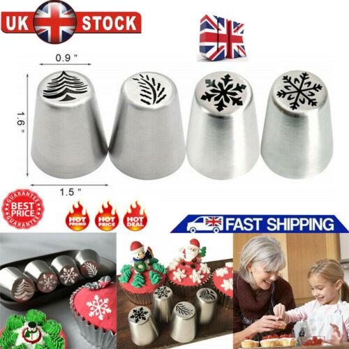 4pcs Russian Tulip Icing Piping Nozzle Xmas Cake DIY Decoration Cream Tools