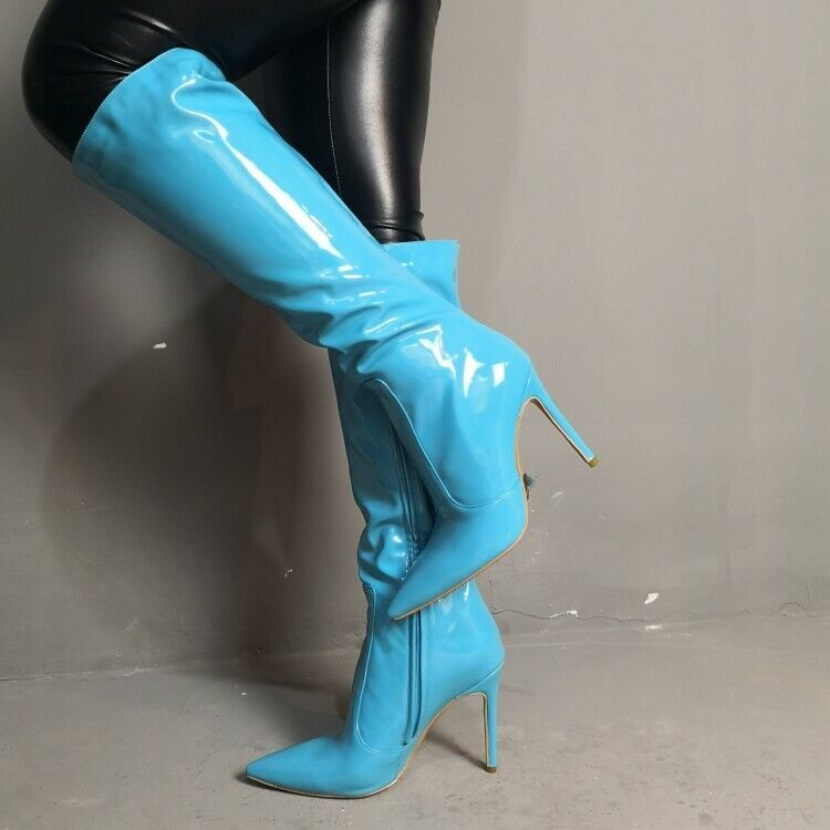 Donna Patent Leather Mid-Calf stivali Stiletto High Heels Pointed Toe Party scarpe