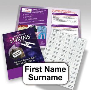Stikins-nome-etichette-alcun-bisogno-di-ferro-ON-SEW-Stick-nella-scuola-dell-039-abbigliamento