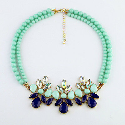 Fashion Occident Style two - tier green beads Blue flowers gems necklace