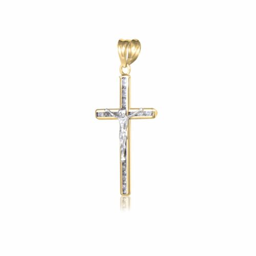 14K Solid Yellow Gold CZ Crucifix Cross Pendant Jesus Necklace Charm Women Men