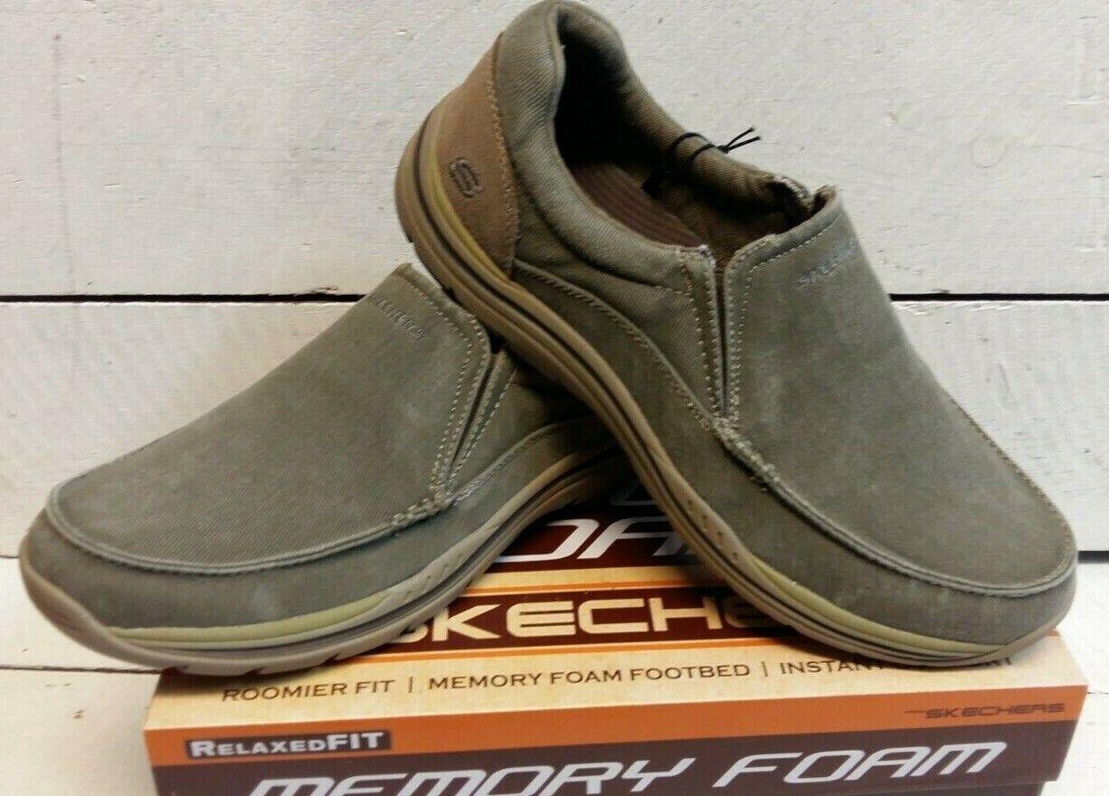 Men's Skechers 64109 Avillo Khaki Slip On Canvas shoes