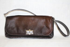 VINTAGE SAKS FIFTH AVENUE,  Brown Genuine Leather & Fur Purse, Made In Italy