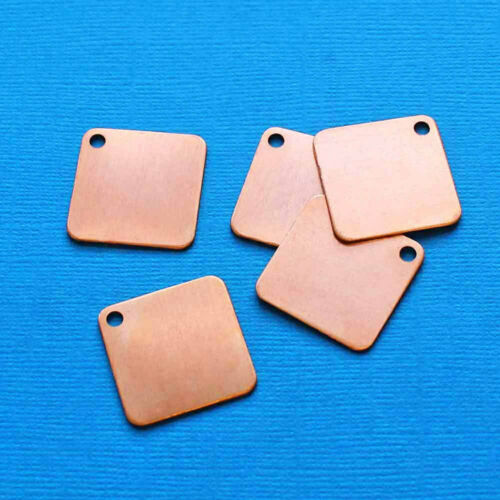 """MT338 10 Copper Stamping Tags Copper 1/"""" Squares"""