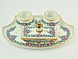 Nymphenburg-Porcelain-Desk-Set-Um-1930-Hand-Painted-10-3-16x6-11-16in-6N3