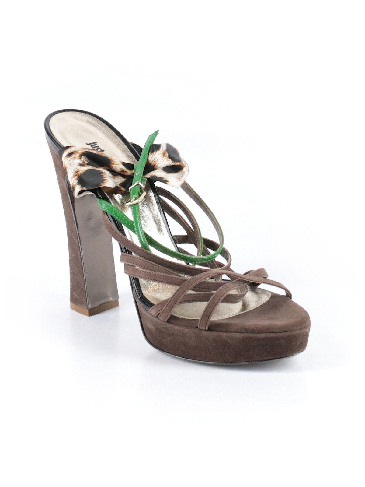 6196c90f62d Just Cavalli Brown Strappy Slingback Heels