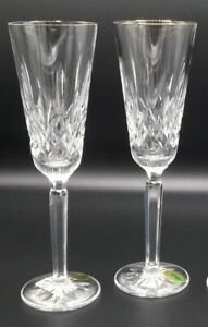 WATERFORD-GOLDEN-LISMORE-Champagne-Flutes-Set-of-2-NEW-crystal-wine-glass-tall