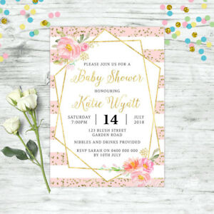 BABY-SHOWER-INVITATION-PERSONALISED-FLORAL-INVITE-PINK-GOLD-GIRL-BOHO-CHIC