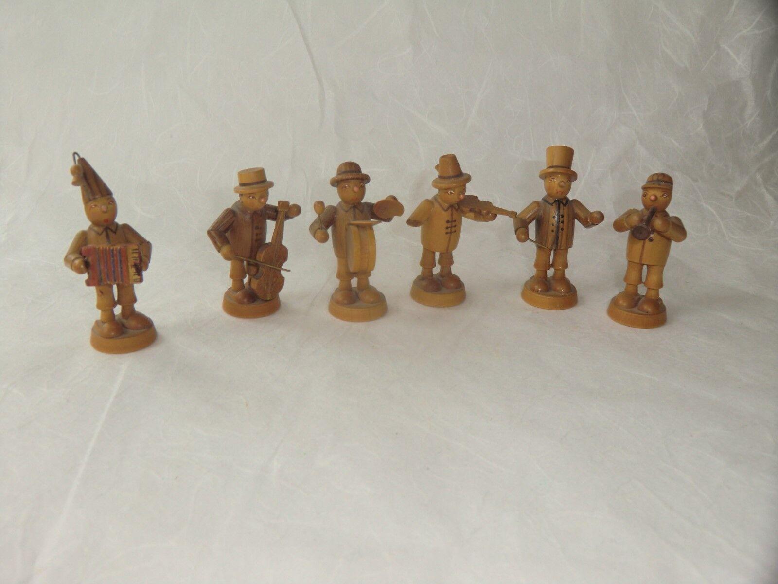 Antike Holzfiguren 6 Musikanten Holz sammeln selten ca. 4 5 cm Kult Deko Vitrine