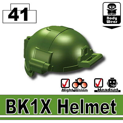W212 Army Assault Helmet compatible w//toy brick minifig Tank Green BK1X