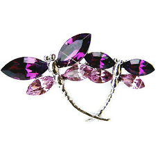 w Swarovski Crystal ~Purple DRAGONFLY~ Mother Baby Family Bridal Pin Brooch Xmas
