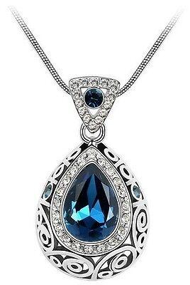 Fashion 18K GP Crystal Necklace Chain Rhinestone Drop Pendant Girls