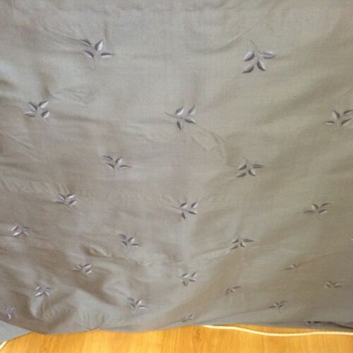 Embroidered Leaf  Petrol Blue 100/% Silk  Curtain//Craft Fabric