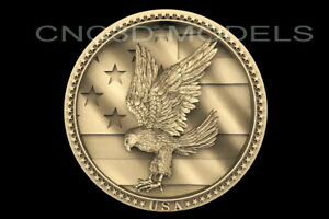 3D Model STL for CNC Router Engraver Carving Artcam USA Flag Eagle Pano  D240