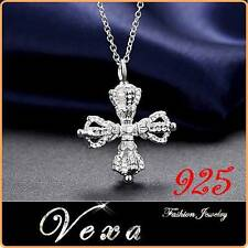 New 925 Silver Plated Necklace Pendant Cross Crown Ladies Chain Wedding UK PS06