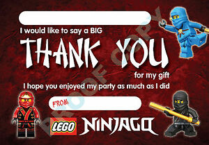LEGO-NINJAGO-Pack-of-10-THANK-YOU-CARDS-Kids-Children-birthday