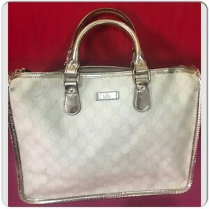 25febb357 GUCCI 199259 GG Plus Monogram Medium Joy Boston White Hand Tote bag ...