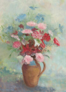 M-L-Abbott-Signed-20th-Century-Oil-Spring-Blooms