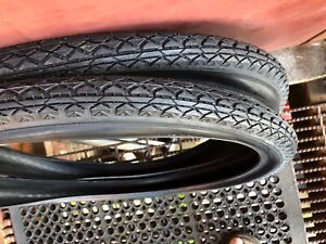 BLACK-Bicycle-tires-Balloon-26-x-2-125-Schwinn-Columbia-etc-Goodyear-tread