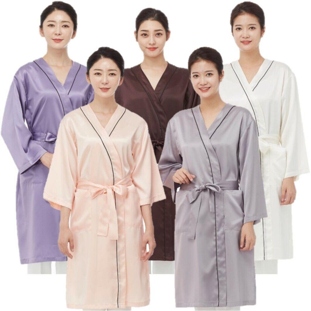 Line Gown Ln1051 Silk Satin Piping Hair Robe Salon Hairdresser Barber Spa Sauna Ebay