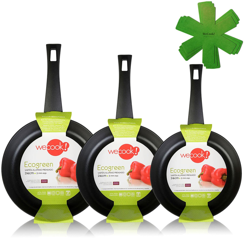 Juego 3 sartenes antiadherente ecológico inducción 18-22-26 Wecook Ecogreen