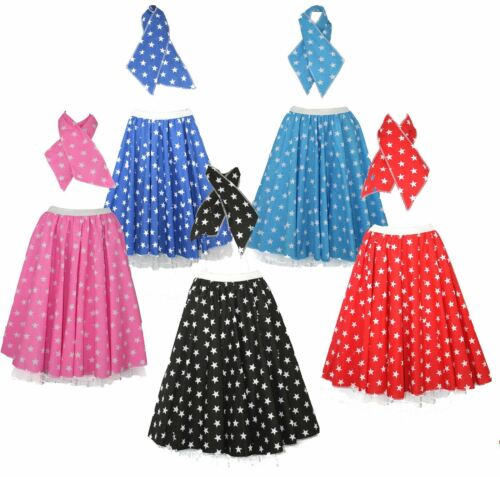 22 inch STAR ROCK AND ROLL 50s Full Circle Skirt /& Scarf Set with Underskirts