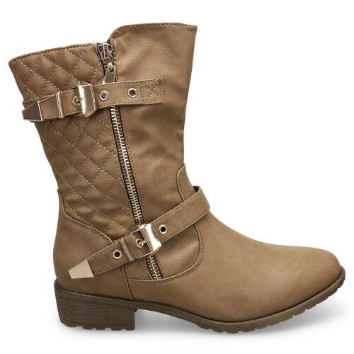 Damen Halbschaft Stiefelette Stiefel Worker Biker Boots Blockabsatz NEU