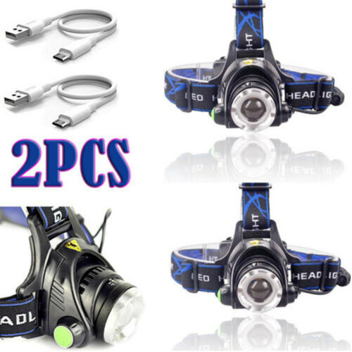 High Power 350000Lumens T6 LED Zoomable Headlamp Rechargeable Headlight  Lamp