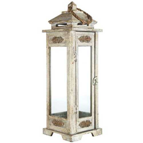 Lantern 22 3//4 in Tall Wooden Carved Design in Antique Gray with Swing Latch