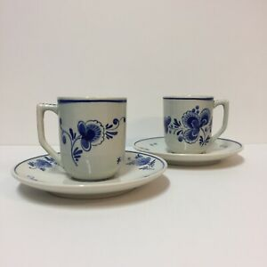 Delft-Holland-Set-2-3-034-Cups-5-75-034-Saucers-Floral-Blue-On-Off-White-5773-Signed