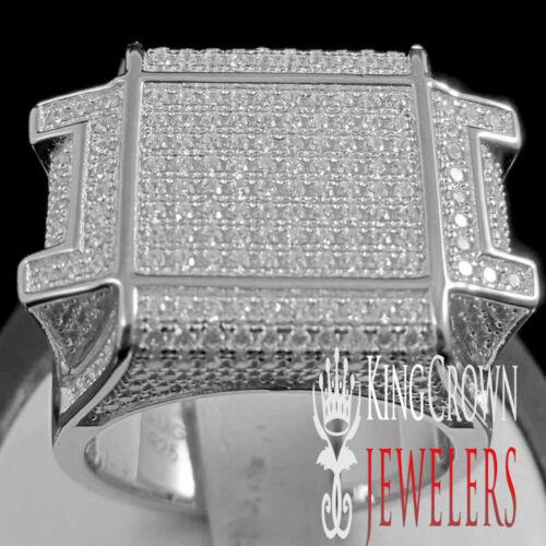 MEN/'S BIG BOLD UNIQUE DESIGNER WHITE GOLD FINISH LAB DIAMOND PINKY RING BAND
