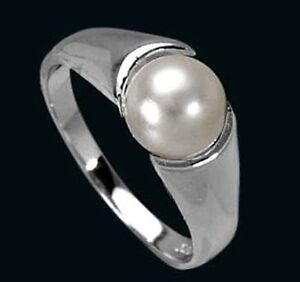 925-ECHT-SILBER-RHODINIERT-Perlen-Ring-Groessenauswahl