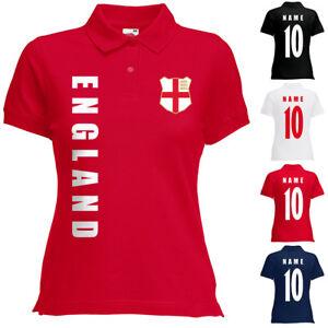 England Damen Trikot Fanshirt Polo-Shirt WM 2018 Name Nummer